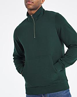 Green Quarter Zip Neck Sweat Reg