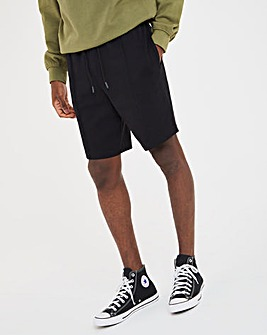 Black Pique Pintuck Shorts