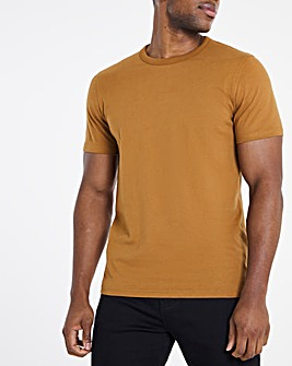 Heavyweight Tan Bound Neck Tee Long