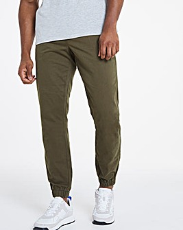 Khaki Cuffed Elasticated Waist Trousers