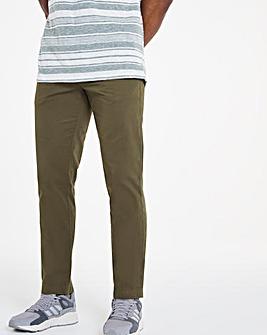 Khaki Elasticated Waist Tapered Trousers