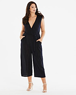 Quiz Curve Blue Glitter Cropped Jumpsuit