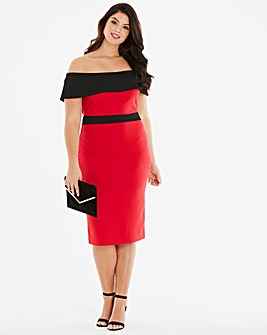 Quiz Curve Contrast Bardot Midi Dress