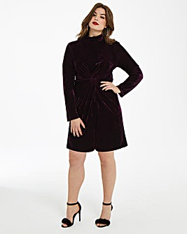 Fashion Union Twist Knot Velvet Dress