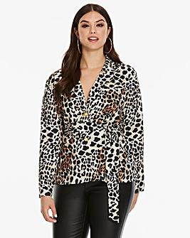 AX Paris Curve Leopard Print Jacket