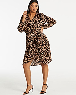 Ax Paris Curve Printed Midi Wrap Dress