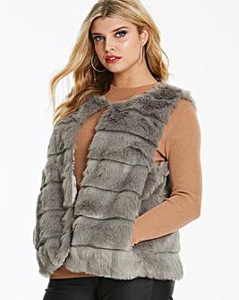Oasis Curve Ribbed Faux Fur Gilet