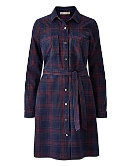 Oasis Curve Check Cord Shirt Dress