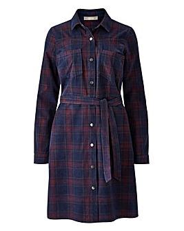 Oasis Curve Check Cord Shirt Dress