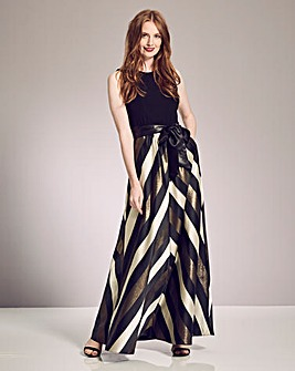 Gina Bacconi Chevron Maxi Dress