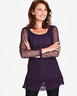 Apricot Jersey Knit Sequin Top