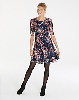 Oasis Curve Printed Puff Sleeve Lace Dress