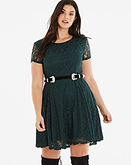 Apricot Lace Skater Dress