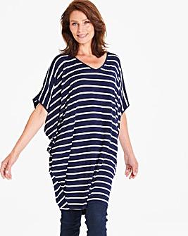Apricot Oversized Stripe Tunic Dress