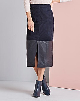 Concept Real Suede and Leather Panel Skirt