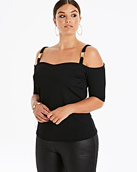 Pink Clove Clip Detail Cold Shoulder Top