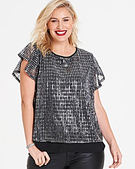 Oasis Metallic Plisse Top