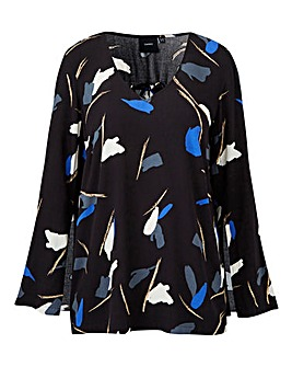 I.Scenery Printed Wide Sleeve Blouse