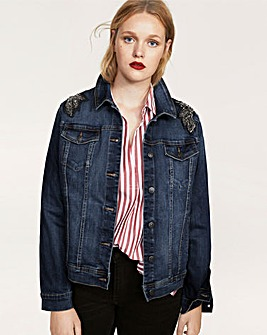 Violeta by Mango Embellished Shoulder Denim Jacket