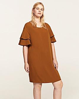 Violeta by Mango Fluted Sleeve Dress
