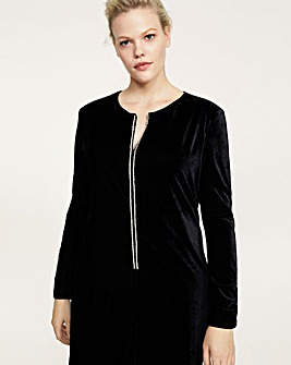 Violeta by Mango Velvet Zip Front Dress
