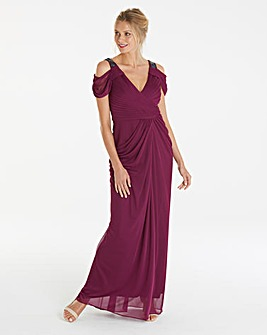 Adrianna Papell Wrap Beaded Maxi Dress