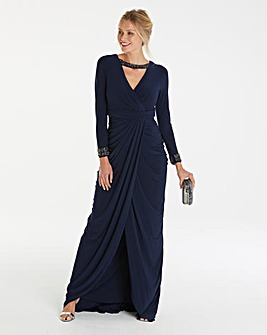 Adrianna Papell Wrap Grecian Maxi Dress