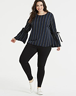 Junarose Striped Tie Sleeve Blouse