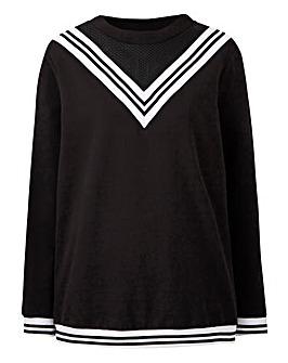 Junarose Mesh Contrast Sports Sweater