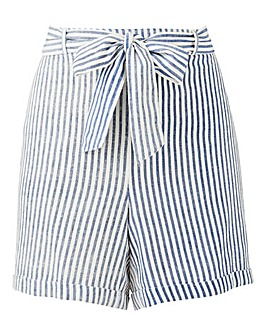 Junarose Cotton Stripe Belted Shorts