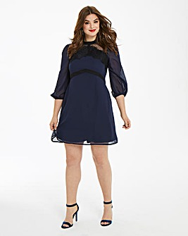 Elise Ryan Spot Mesh Dress With Eyelash Trim