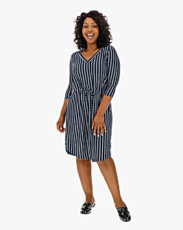 I.Scenery V Neck Stripe Dress
