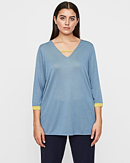 I.scenery V Neck Contrast Top