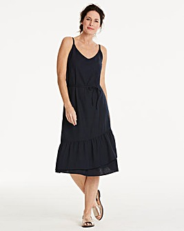 Vero Moda Linen Blend Frilled Hem Dress