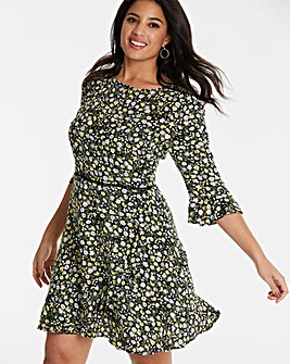 Oasis Ditsy Frill Sleeve Dress