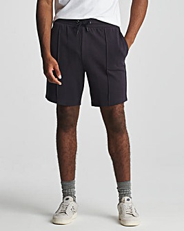 Navy Pique Pintuck Shorts