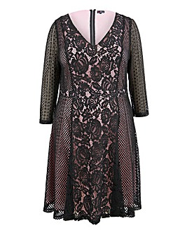 Lovedrobe Panelled Lace Dress with Contrast Lining