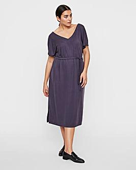 I.scenery Belted Side Split Midi Dress