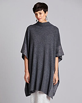 Concept Cashmere Blend Poncho with Metallic Trim and Button