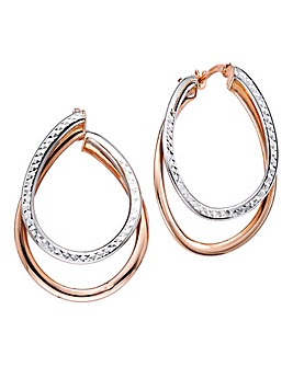 9 Carat Gold Diamond Hoop Earrings