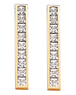 9 Carat Yellow Gold Single Bar Earrings