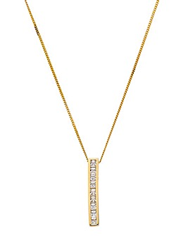 9 Carat Yellow Gold CZ Bar Necklace