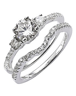 Sterling Silver CZ Bridal Ring Set
