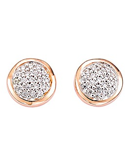 2 Tone CZ Pave Coin Earrings