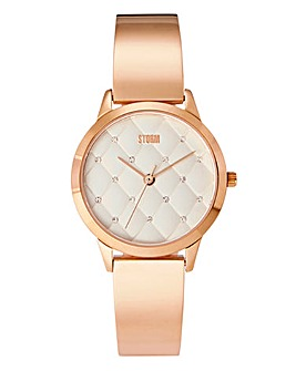 Storm Enya Rose-tone Quilted Ladies Watch