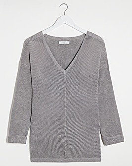 Joanna Hope Silver V-Neck Metallic Jumper