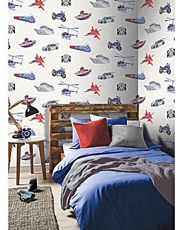 Zoom Away Wallpaper White
