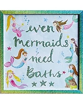 Mermaid World Glassless Framed Print