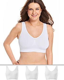 3 Pack White Comfort Tops