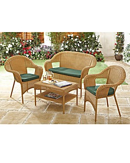 Polyrattan Table and Two Chairs